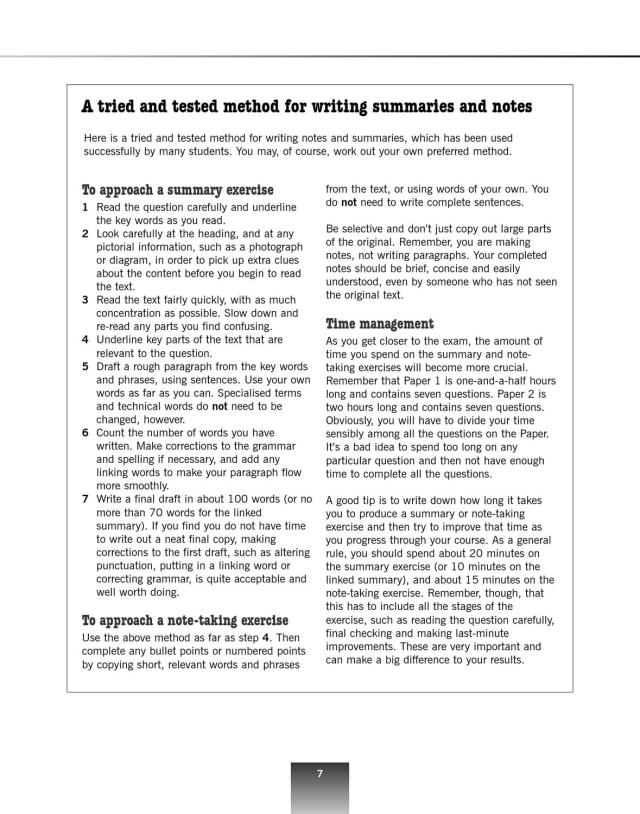 Summary and Note-Taking with Key (revised edition) by Cambridge