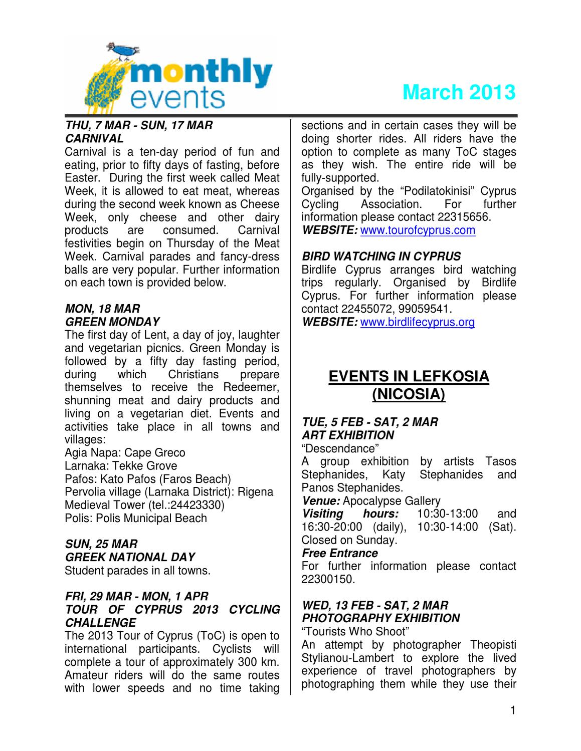 Cyprus Monthly Events March 2013 by Deputy Ministry of