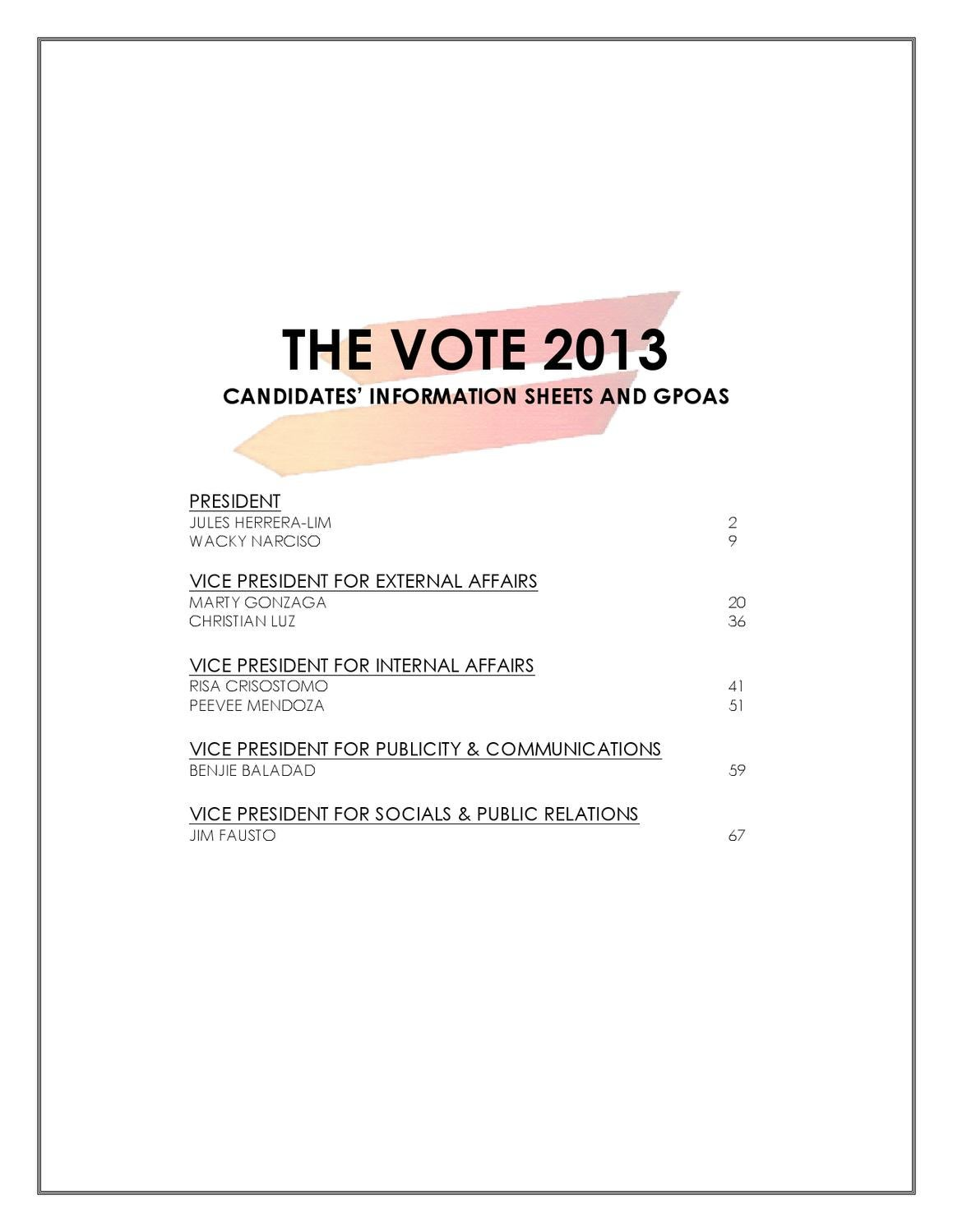 UP JMA The Vote 2013 Candidates' Consolidated GPOAs by UP