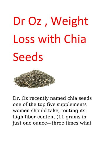 Dr Oz Chia Seed : Recommends, Weight, Health, Jessy, Bellonse, Issuu