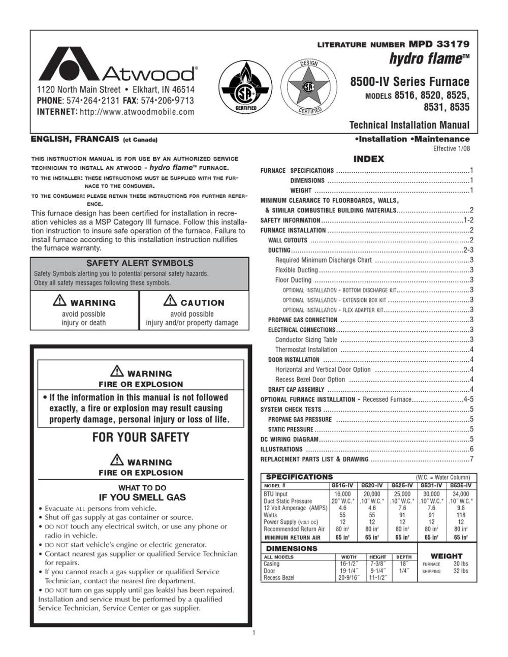 medium resolution of atwood hydro flame 8500 iv furnace install maintenance