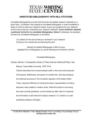 Annotated Bibliography For MLA By Texas State Writing