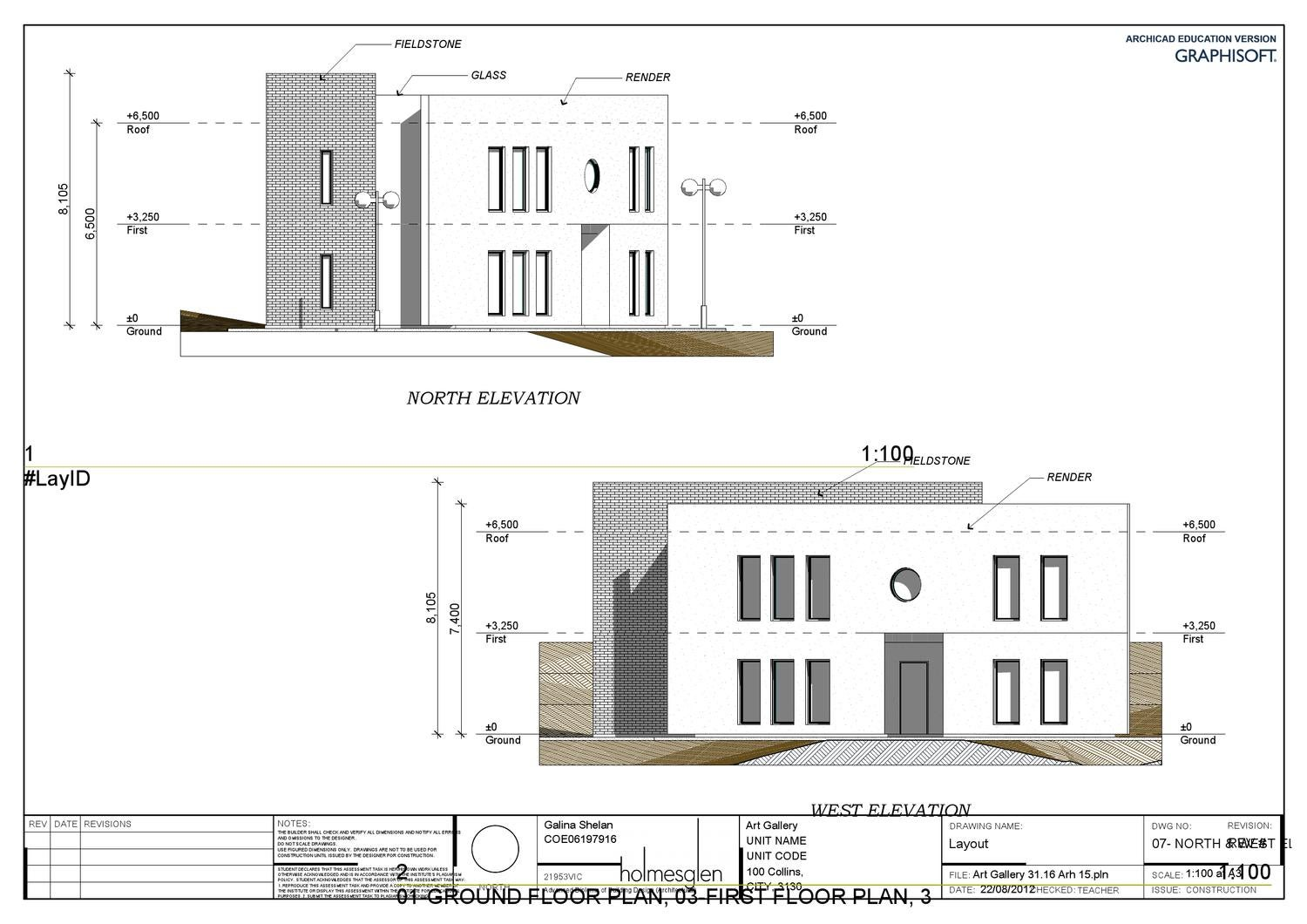 Archicad Art Gallery NORTH & WEST ELEVATIONS by Galina