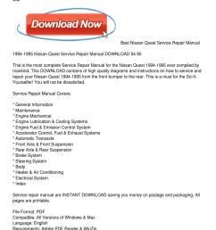 1994 1995 nissan quest service repair manual download 94 95 by john ferguson issuu [ 1159 x 1499 Pixel ]