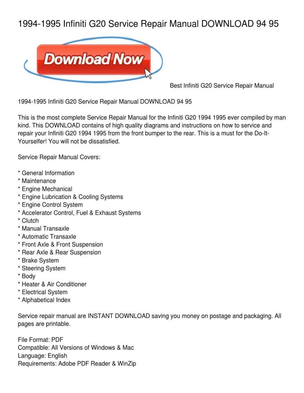medium resolution of 1994 1995 infiniti g20 service repair manual download 94 95 by rh 1994 geo metro engine