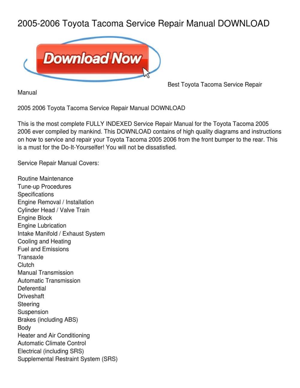 medium resolution of 2005 2006 toyota tacoma service repair manual download