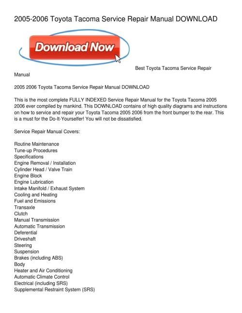 small resolution of 2005 2006 toyota tacoma service repair manual download