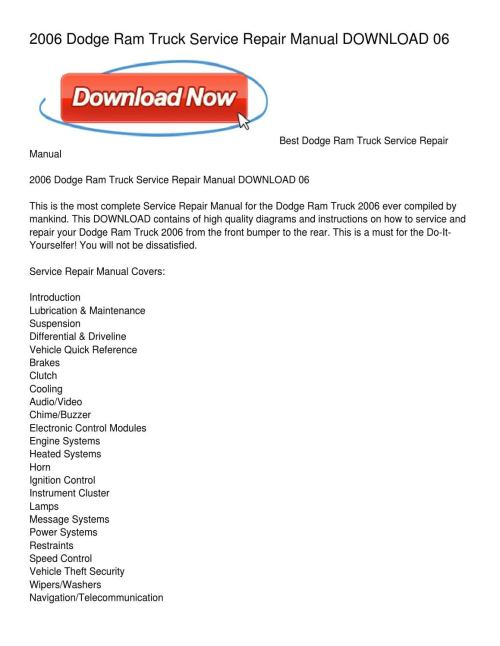 small resolution of 2006 dodge ram truck service repair manual download 06 by wanda seamon issuu