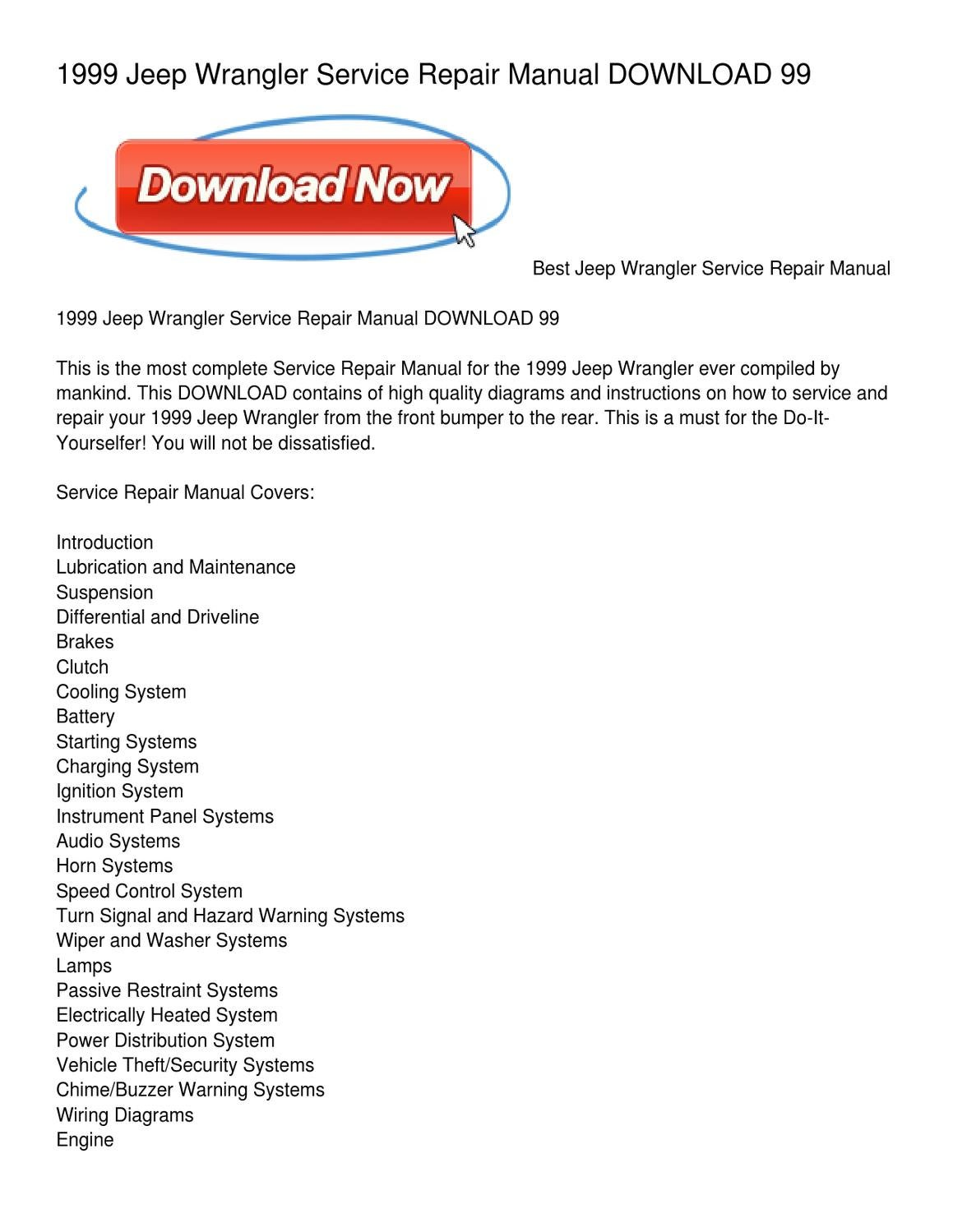 hight resolution of 1999 jeep wrangler service repair manual download 99 by clifford morley issuu