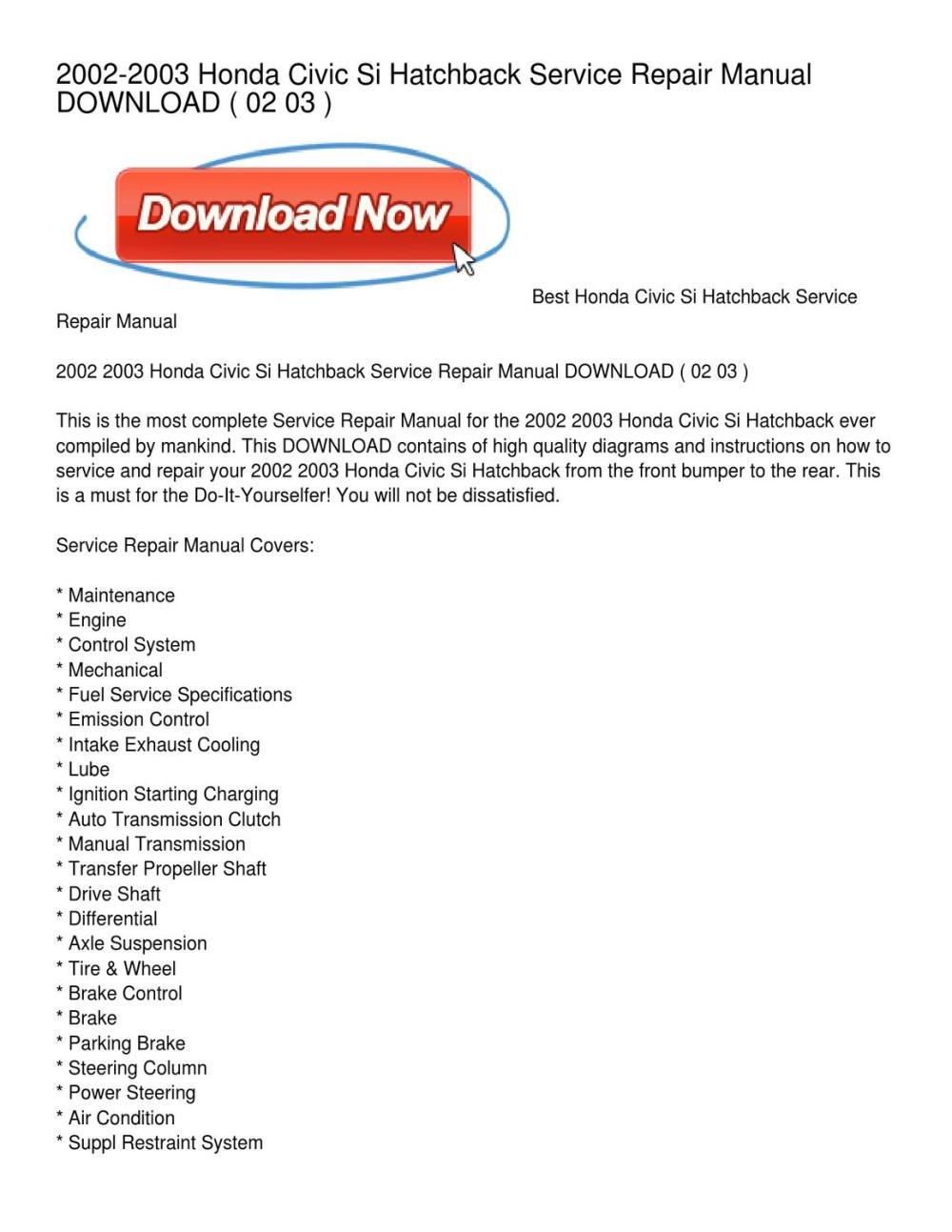 medium resolution of 2002 2003 honda civic si hatchback service repair manual download by 2001 honda civic engine diagram
