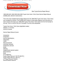 1999 2005 toyota yaris verso echo verso service repair manual download [ 1159 x 1499 Pixel ]