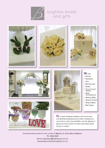 wedding chair cover hire brighton covers rentals near me adelaide pages 2013 by mark greeneklee issuu we arches pedestals urns blackboards easels sashes table centrepieces wishing wells treasure chests present boxes