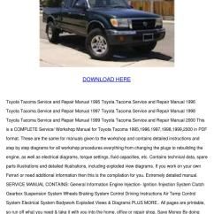 1996 Toyota Tacoma Parts Diagram Iveco Daily 2006 Wiring Service And Repair Manual 1995 By Enda Dito