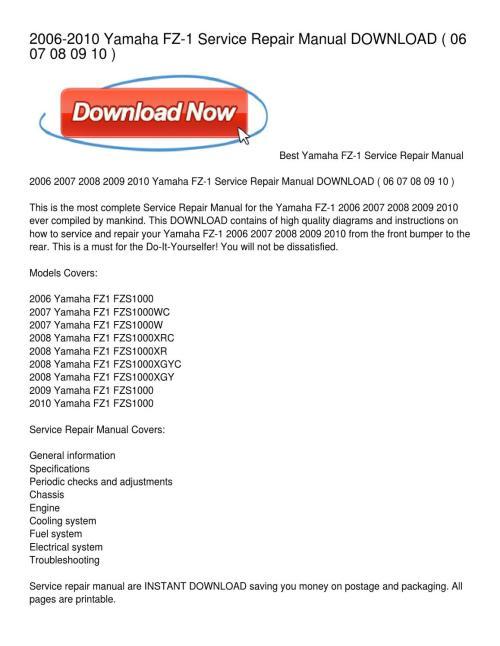 small resolution of 2006 2010 yamaha fz 1 service repair manual download by pamela 2009 yamaha fz1 wiring diagram
