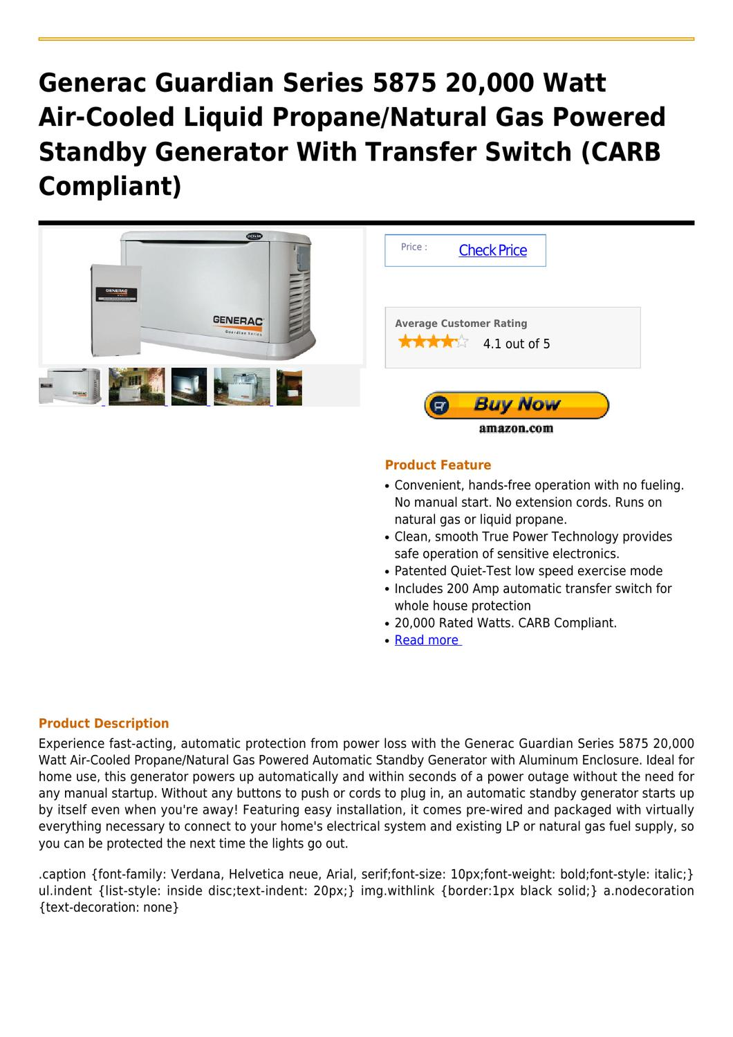 hight resolution of generac guardian series 5875 20 000 watt air cooled liquid propane natural gas powered standby gener
