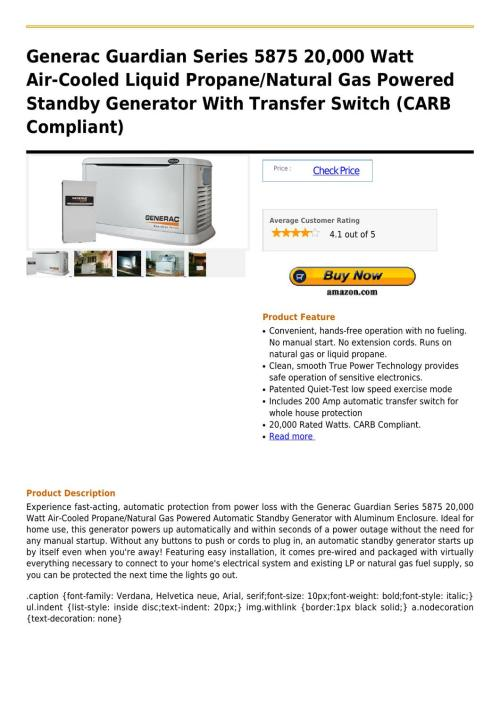 small resolution of generac guardian series 5875 20 000 watt air cooled liquid propane natural gas powered standby gener