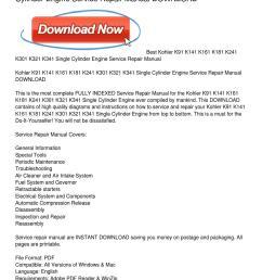 kohler k91 k141 k161 k181 k241 k301 k321 k341 single cylinder engine service repair manual download by peggy paige issuu [ 1159 x 1499 Pixel ]
