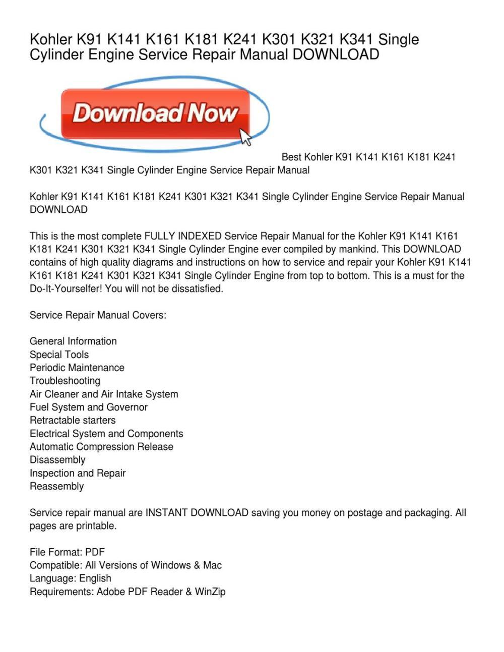 medium resolution of kohler k91 k141 k161 k181 k241 k301 k321 k341 single cylinder engine service repair manual download by peggy paige issuu