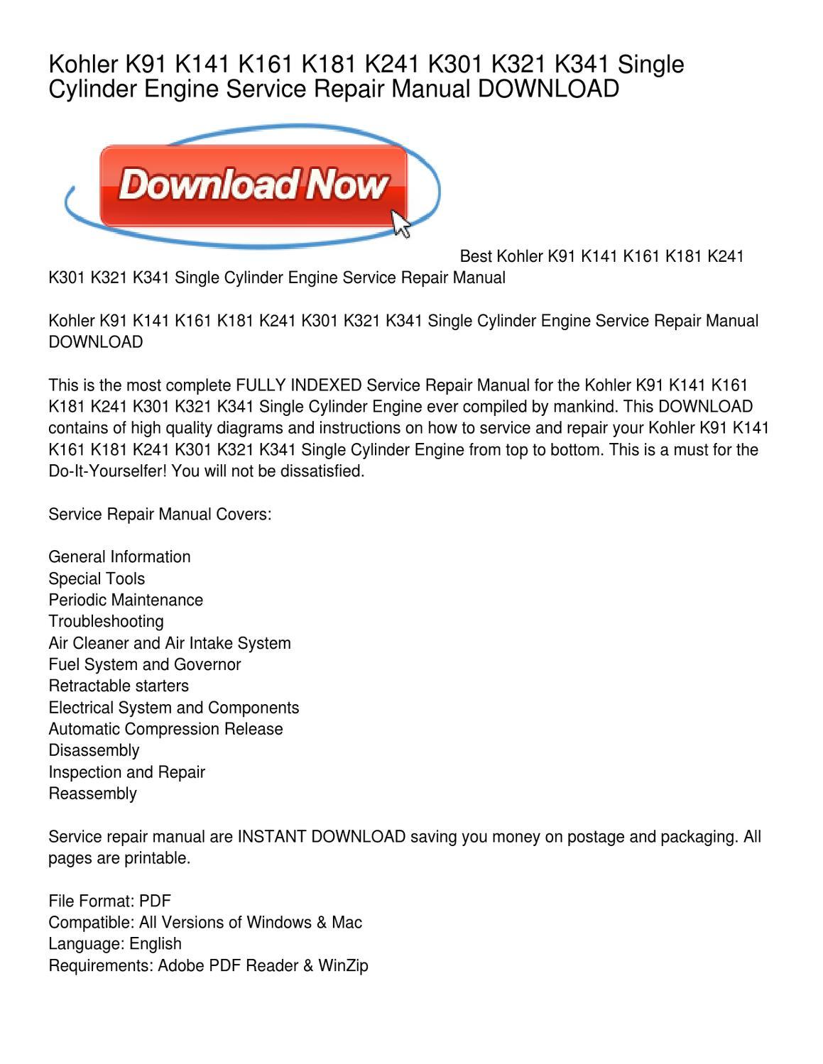 hight resolution of kohler k91 k141 k161 k181 k241 k301 k321 k341 single cylinder engine service repair manual download by peggy paige issuu