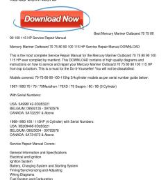 mercury mariner outboard 70 75 80 90 100 115 hp service repair manual download by joan head issuu [ 1159 x 1499 Pixel ]