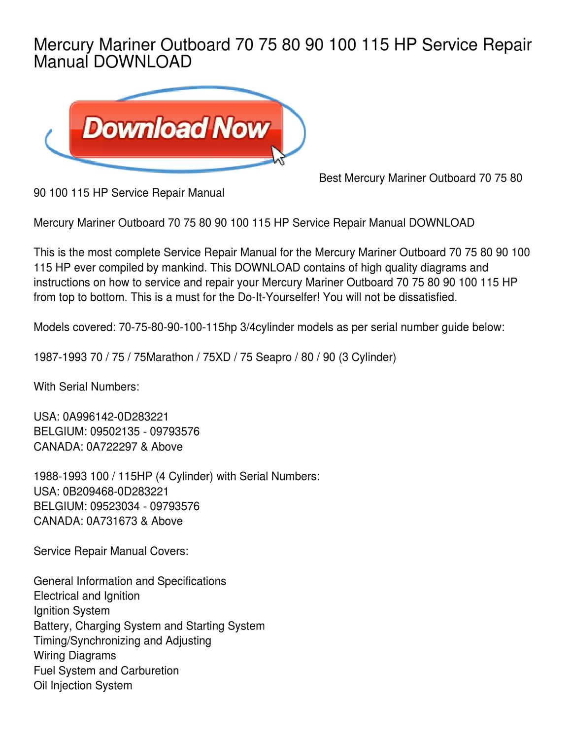 hight resolution of mercury mariner outboard 70 75 80 90 100 115 hp service repair manual download by joan head issuu