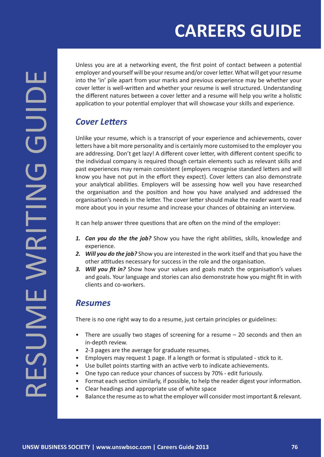Unsw Cover Letter Unsw Bsoc Careers Guide 2013 By Unsw Business Society Issuu