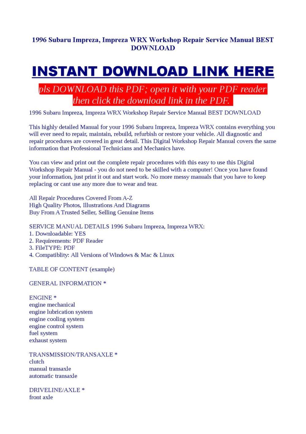 medium resolution of 1996 subaru impreza impreza wrx workshop repair service manual best download
