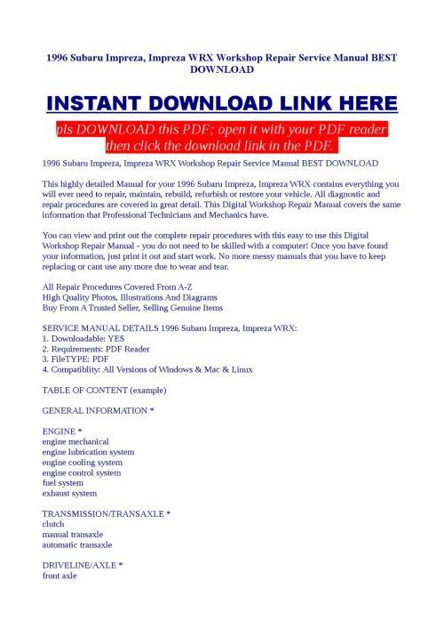 small resolution of 1996 subaru impreza impreza wrx workshop repair service manual best download