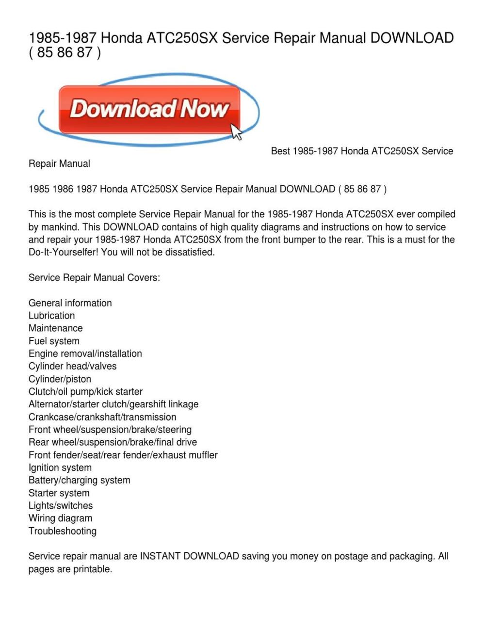 medium resolution of 1985 1987 honda atc250sx service repair manual by leonard colmenero issuu honda atc250sx wiring diagram