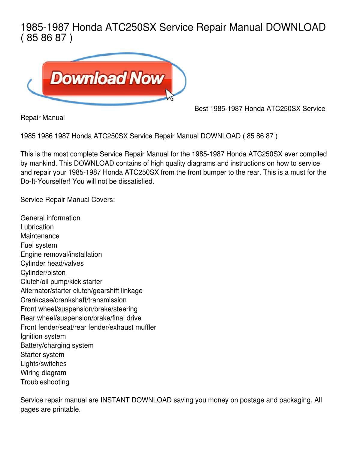 hight resolution of 1985 1987 honda atc250sx service repair manual by leonard colmenero issuu honda atc250sx wiring diagram