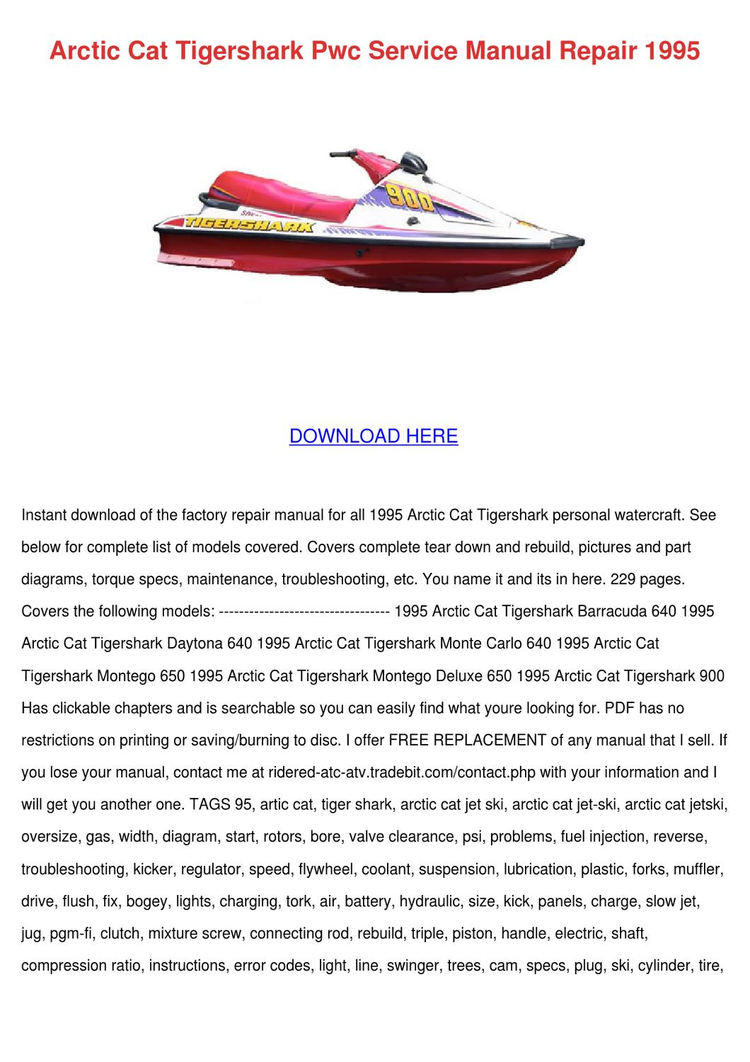 [SODI_2457]   566 1996 Tiger Shark Jet Ski Repair Manual | Wiring Library | Arctic Cat Jet Ski Wiring Diagrams |  | Wiring Library