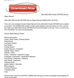 2002 2004 honda crf450r service repair manual download by samuel hicks issuu [ 1159 x 1499 Pixel ]
