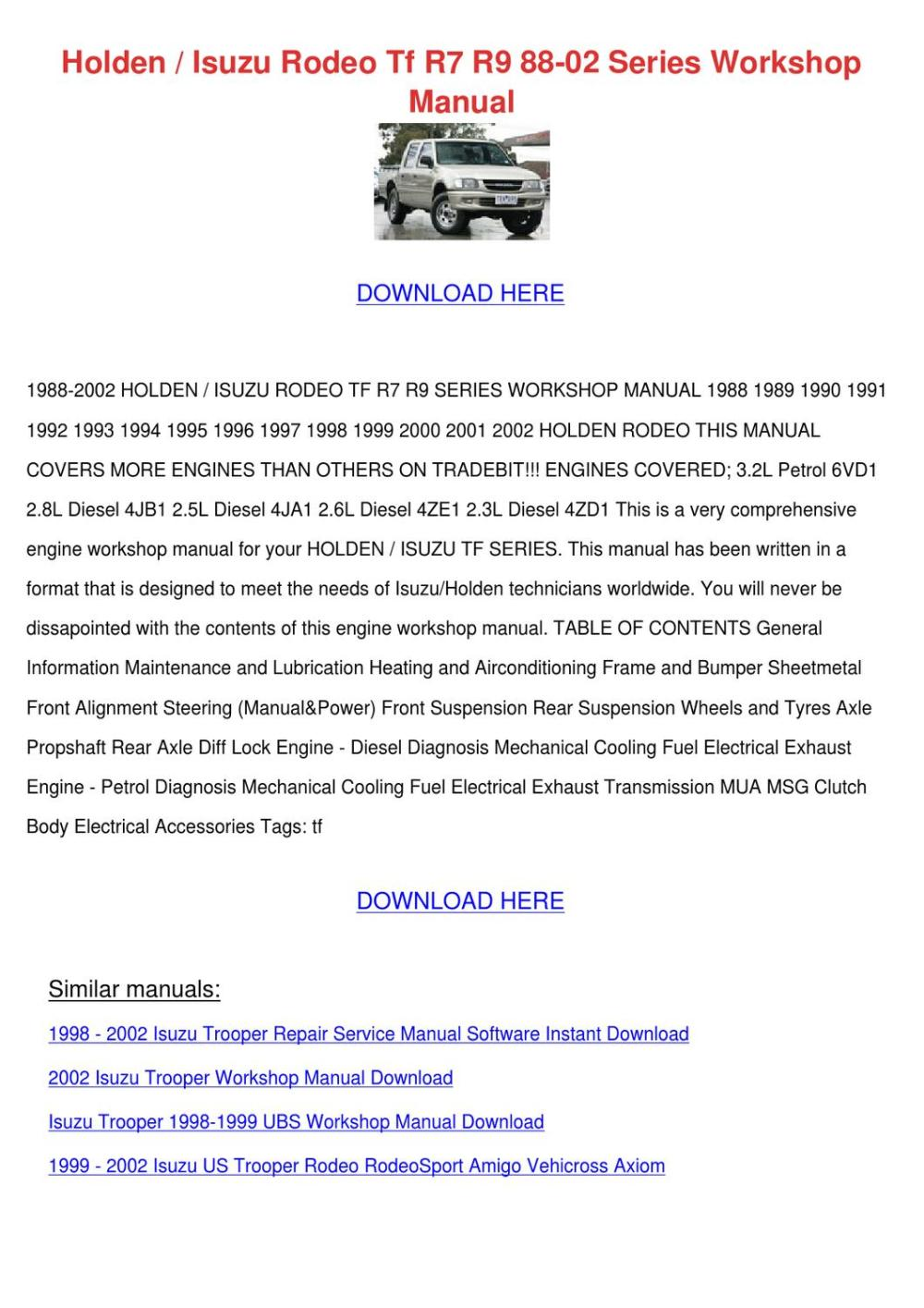 medium resolution of holden isuzu rodeo tf r7 r9 88 02 series work