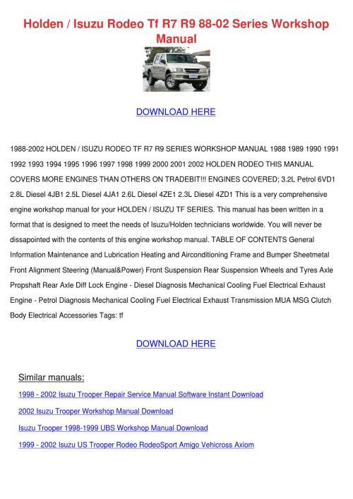 small resolution of holden isuzu rodeo tf r7 r9 88 02 series work