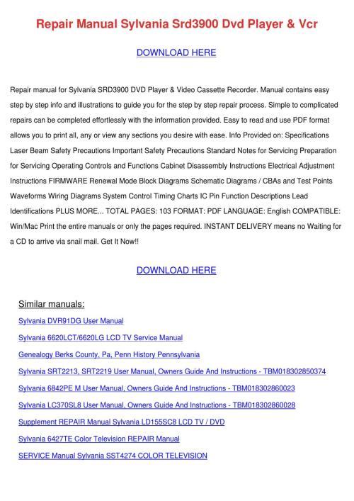 small resolution of repair manual sylvania srd3900 dvd player vcr by bryanna hammarlund issuu
