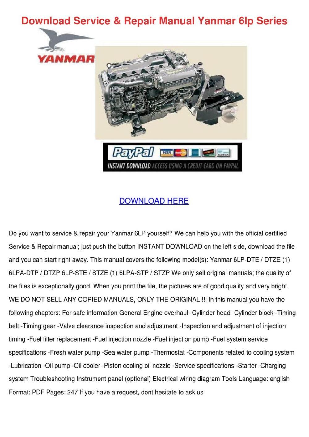 medium resolution of download service repair manual yanmar 6lp ser
