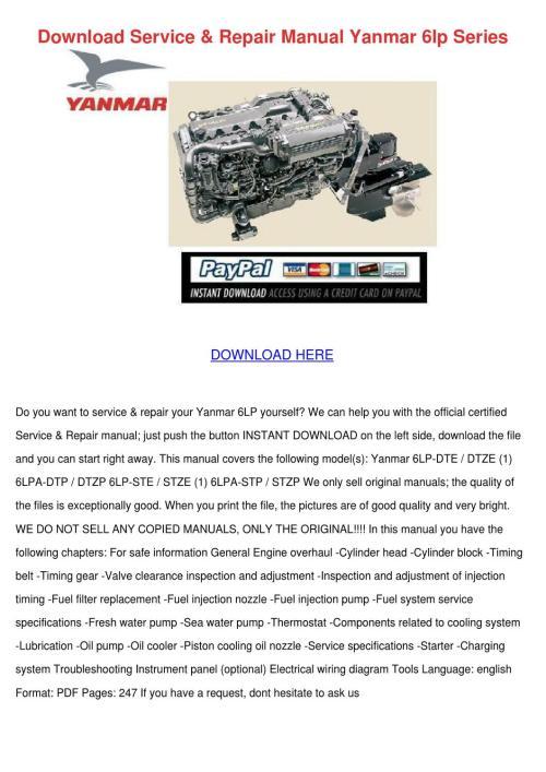 small resolution of download service repair manual yanmar 6lp ser