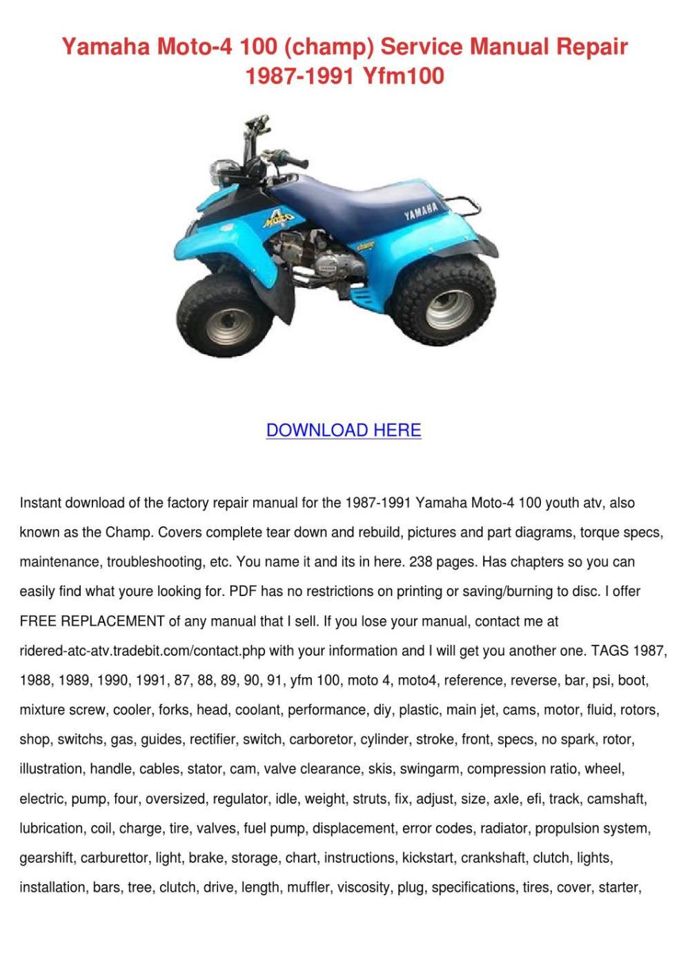 medium resolution of yamaha moto 4 100 champ service manual repair