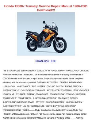 Honda Xl600v Transalp Service Repair Manual 1 by Shameka Dice  Issuu