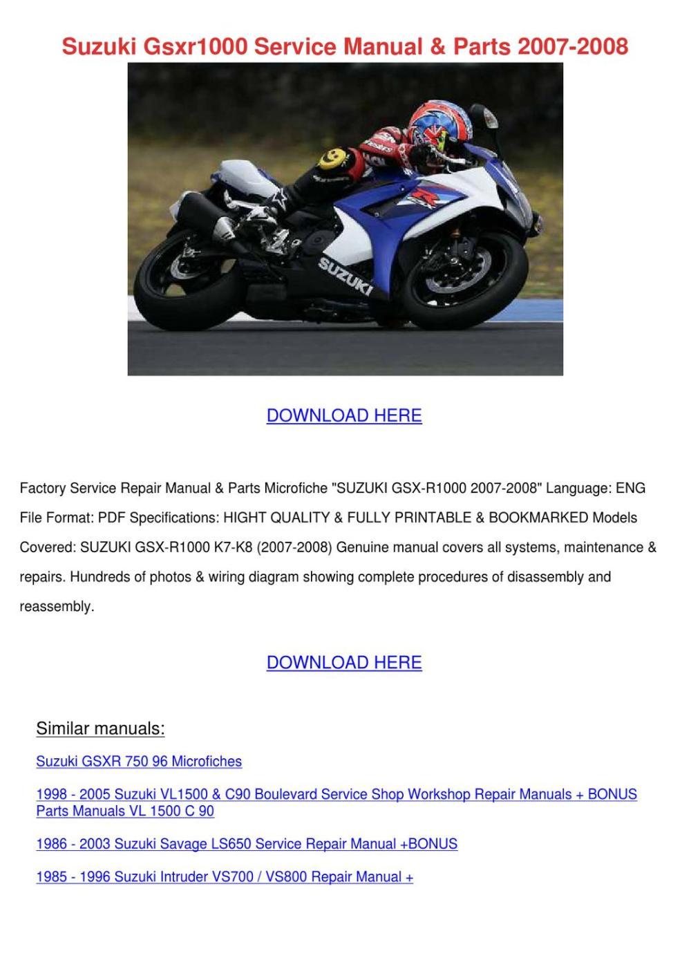 medium resolution of suzuki gsxr1000 service manual parts 2007 200