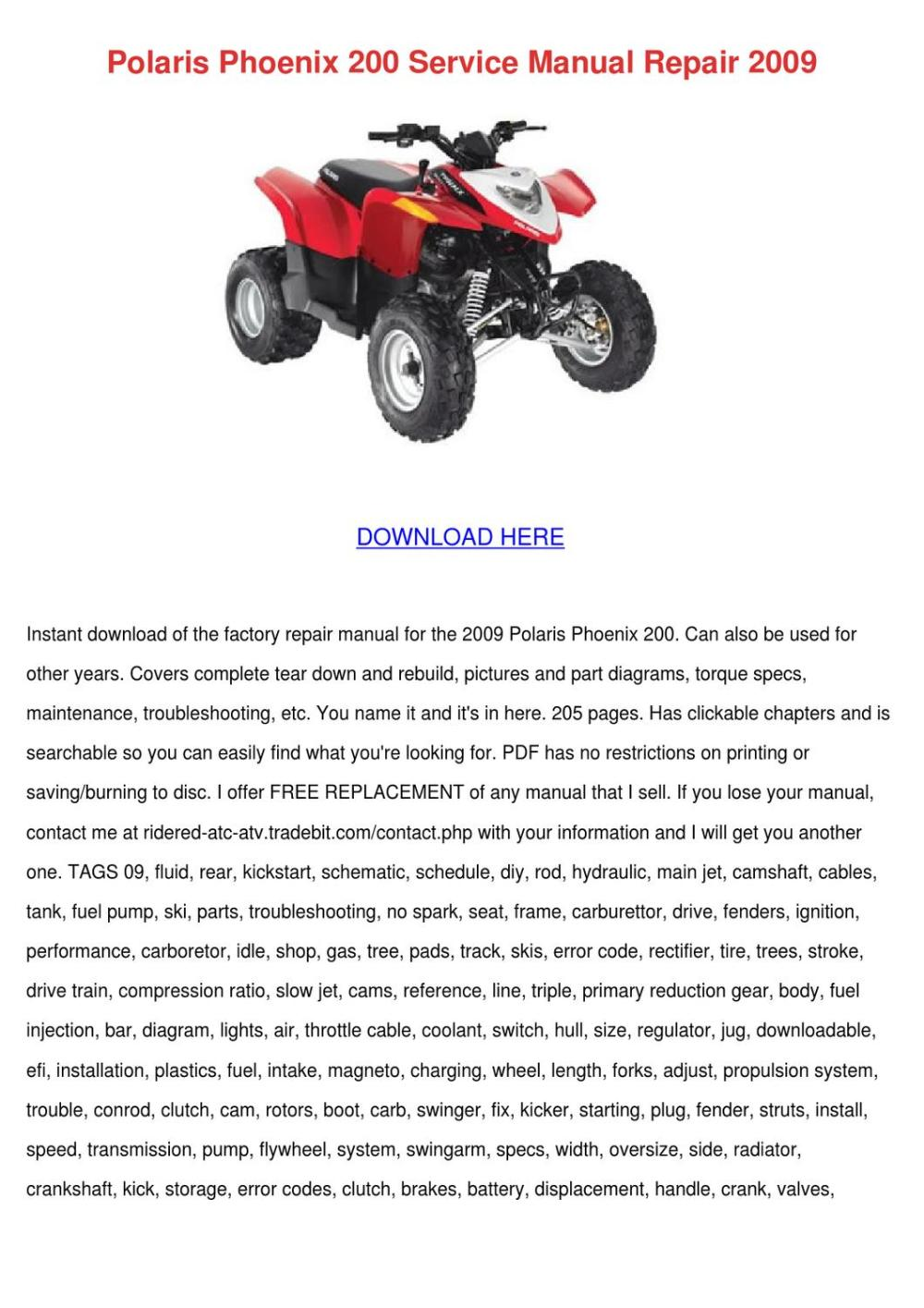 medium resolution of polaris phoenix 200 service manual repair 200 by ethelyn hrycenko issuu