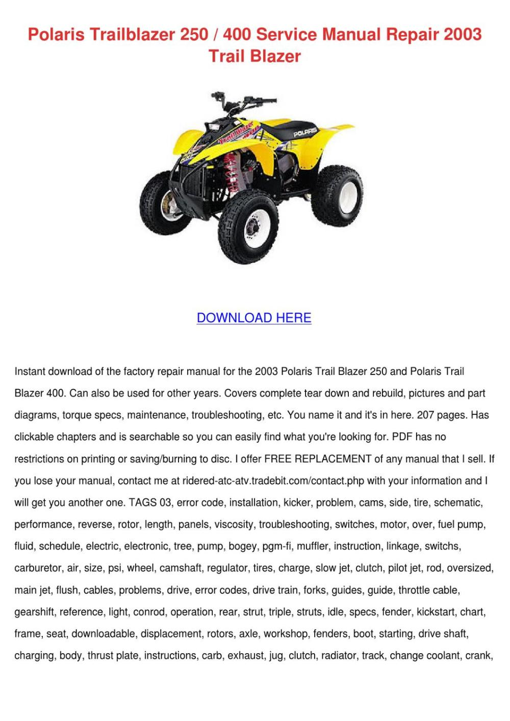 medium resolution of polaris trailblazer 250 400 service manual re
