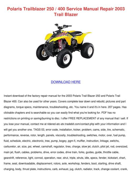 small resolution of polaris trailblazer 250 400 service manual re