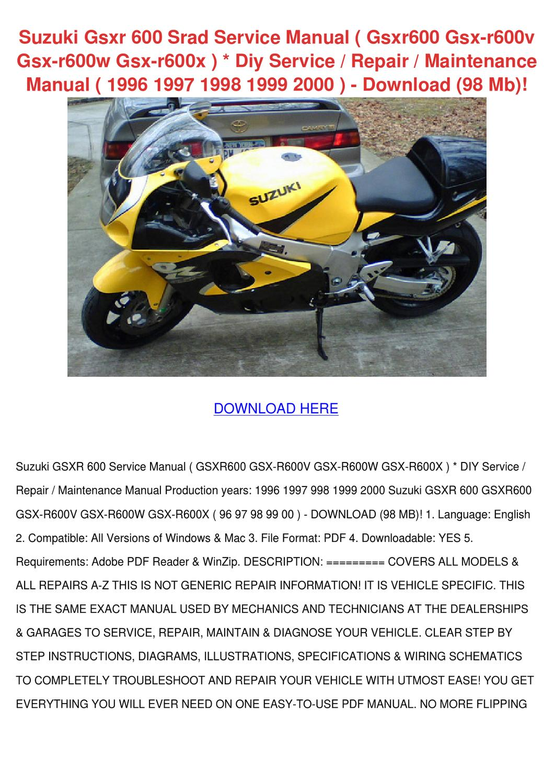 hight resolution of suzuki gsxr 600 srad service manual gsxr600 g