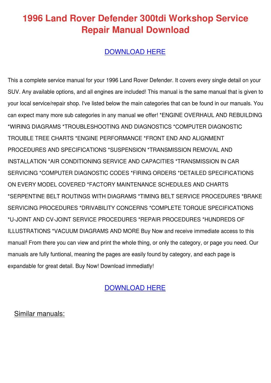 hight resolution of 1996 land rover defender 300tdi workshop serv