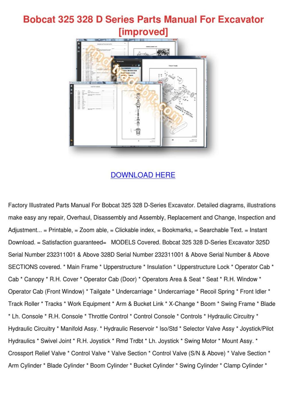 medium resolution of bobcat 325 328 d series parts manual for exca