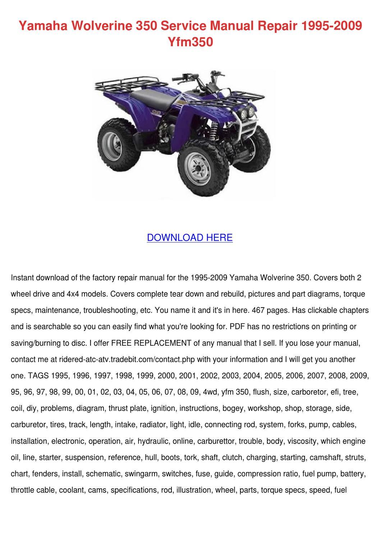 hight resolution of yamaha wolverine 350 service manual repair 19