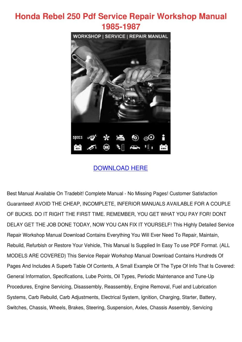 medium resolution of honda rebel 250 pdf service repair workshop m by cherelle mcglathery issuu