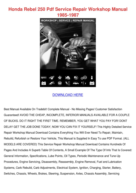 hight resolution of honda rebel 250 pdf service repair workshop m by cherelle mcglathery issuu