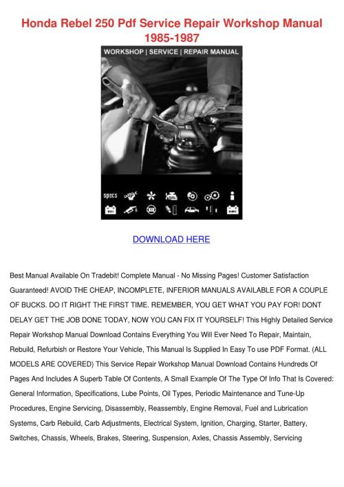 small resolution of honda rebel 250 pdf service repair workshop m by cherelle mcglathery issuu